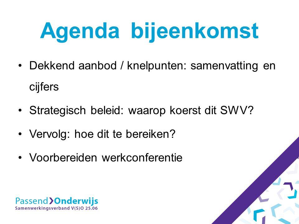 Agenda bijeenkomst Dekkend aanbod / knelpunten: samenvatting en cijfers Strategisch beleid: waarop koerst dit SWV.