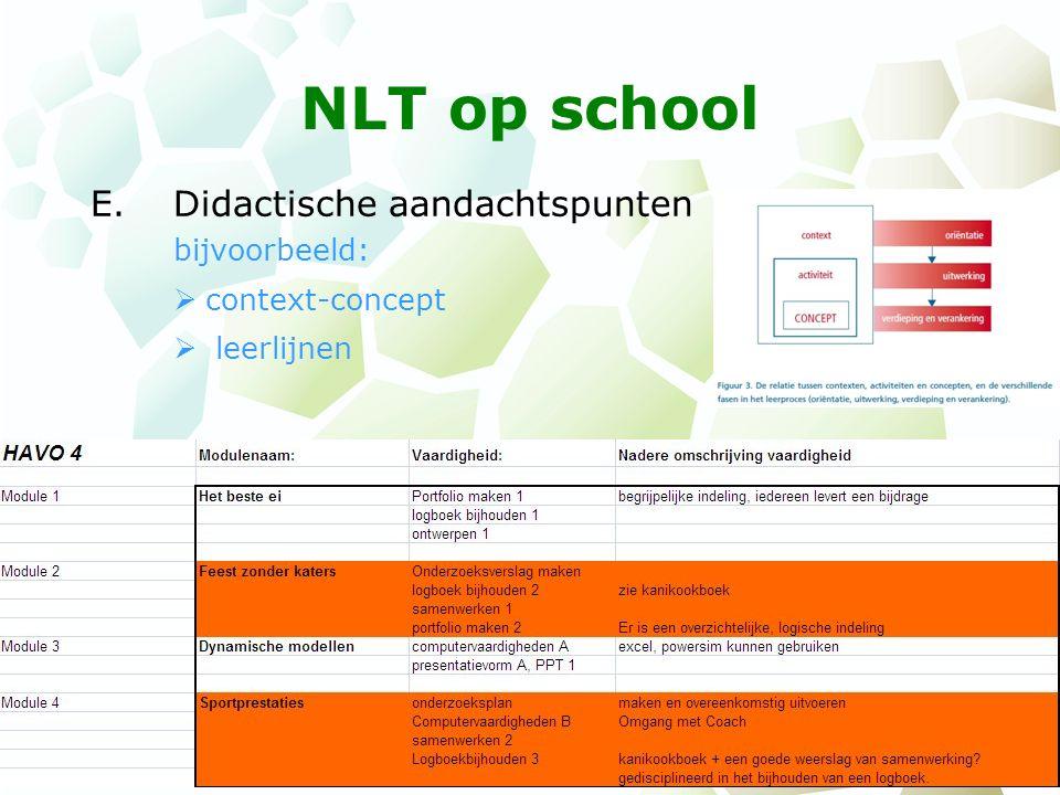 NLT op school E.Didactische aandachtspunten bijvoorbeeld:  context-concept  leerlijnen