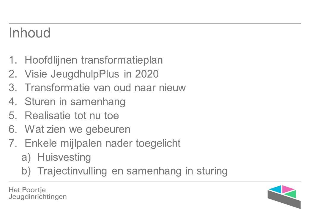 Doelstelling transformatieplan JeugdhulpPlus zal minder, korter en meer verbonden (in de keten en met het netwerk) ingezet worden, in een passende voorziening waarin JeugdhulpPlus optimaal en in flexibele verbinding met de samenleving uitgevoerd kan worden.