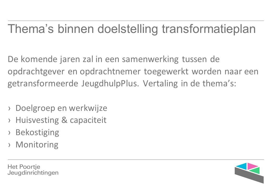 Thema's binnen doelstelling transformatieplan De komende jaren zal in een samenwerking tussen de opdrachtgever en opdrachtnemer toegewerkt worden naar een getransformeerde JeugdhulpPlus.