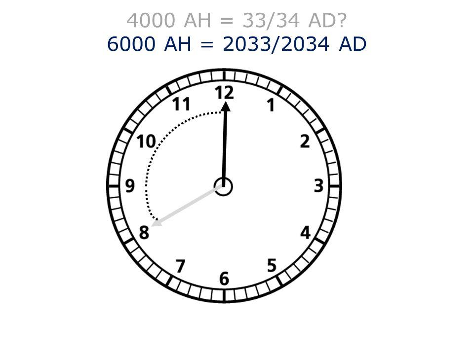 4000 AH = 33/34 AD 6000 AH = 2033/2034 AD