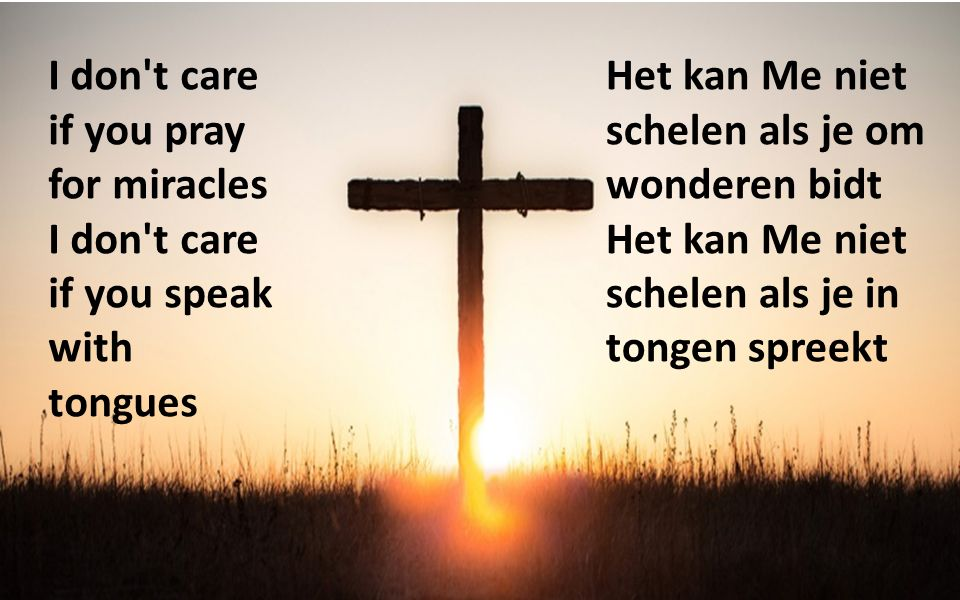 I don't care if you pray for miracles I don't care if you speak with tongues Het kan Me niet schelen als je om wonderen bidt Het kan Me niet schelen a