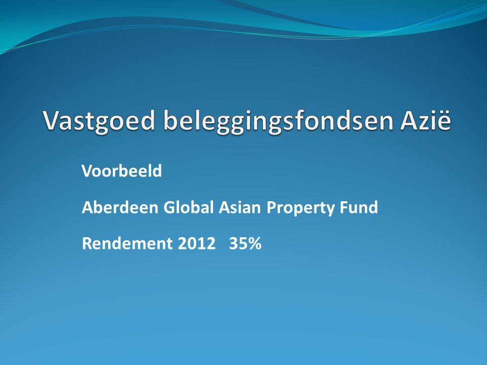Voorbeeld Aberdeen Global Asian Property Fund Rendement 2012 35%