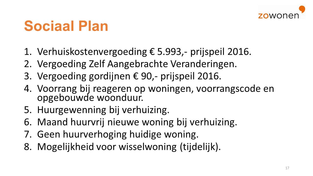 Sociaal Plan 1.Verhuiskostenvergoeding € 5.993,- prijspeil 2016.