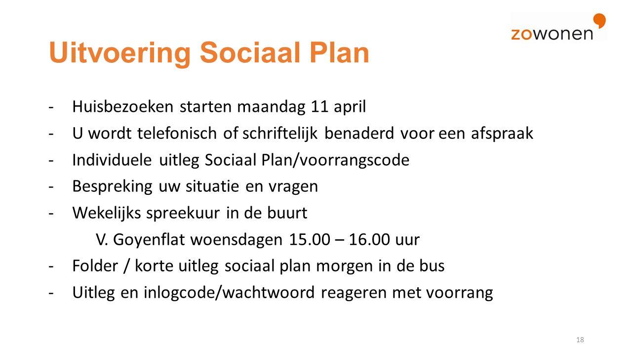 Uitvoering Sociaal Plan 18 -Huisbezoeken starten maandag 11 april -U wordt telefonisch of schriftelijk benaderd voor een afspraak -Individuele uitleg Sociaal Plan/voorrangscode -Bespreking uw situatie en vragen -Wekelijks spreekuur in de buurt V.