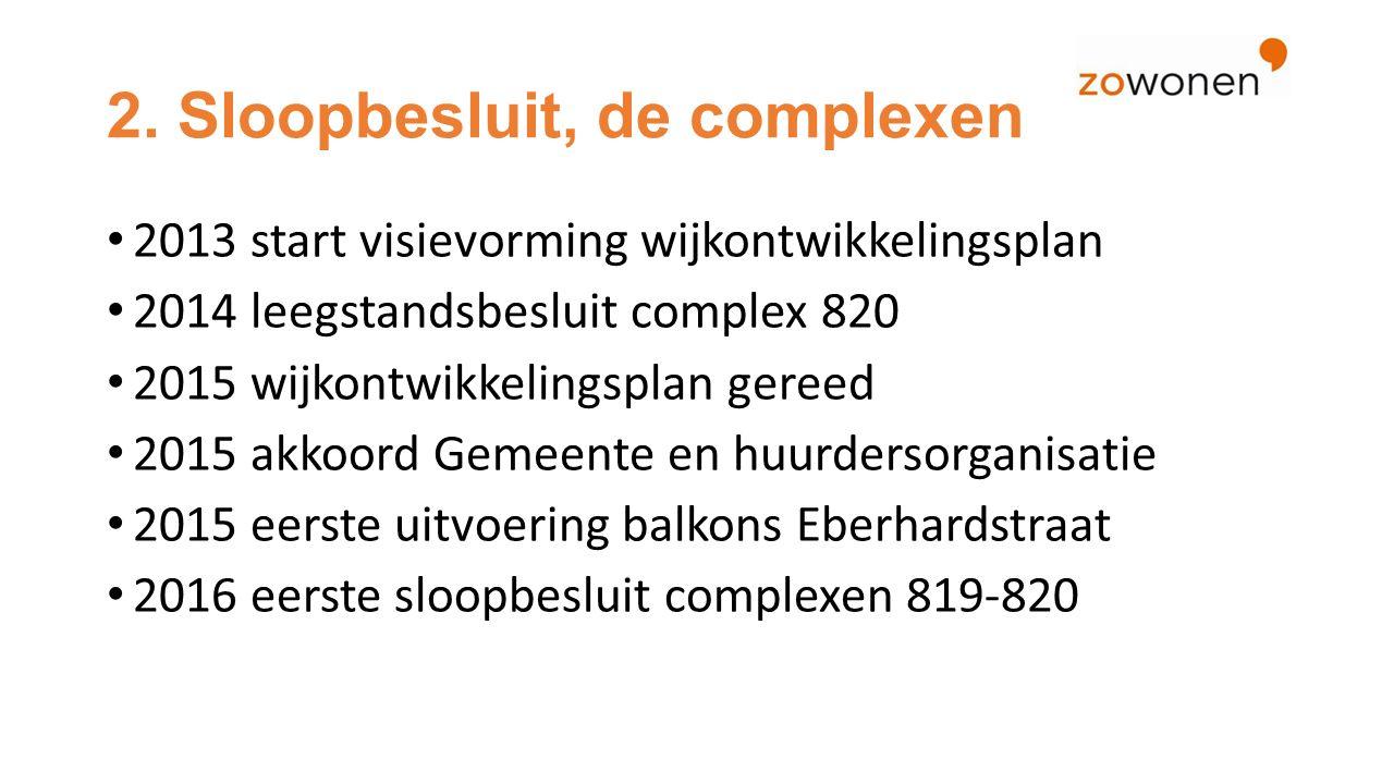 2. Sloopbesluit, de complexen 2013 start visievorming wijkontwikkelingsplan 2014 leegstandsbesluit complex 820 2015 wijkontwikkelingsplan gereed 2015