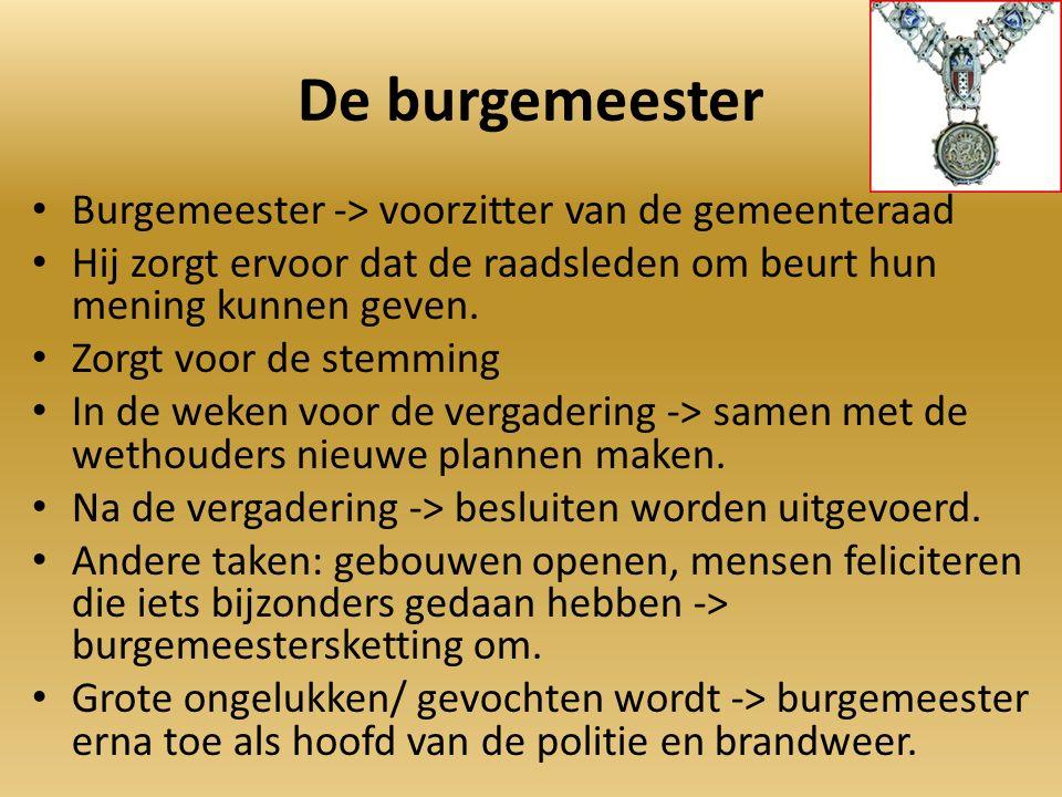 De burgemeester Burgemeester -> voorzitter van de gemeenteraad Hij zorgt ervoor dat de raadsleden om beurt hun mening kunnen geven.