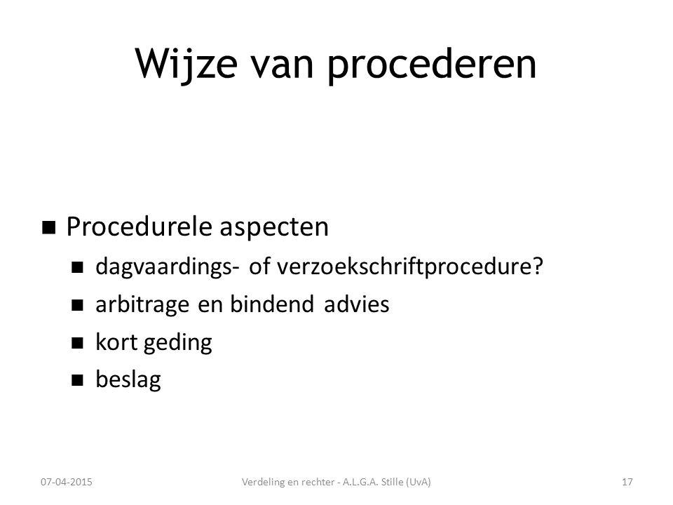 Wijze van procederen Procedurele aspecten dagvaardings- of verzoekschriftprocedure? arbitrage en bindend advies kort geding beslag 07-04-2015Verdeling