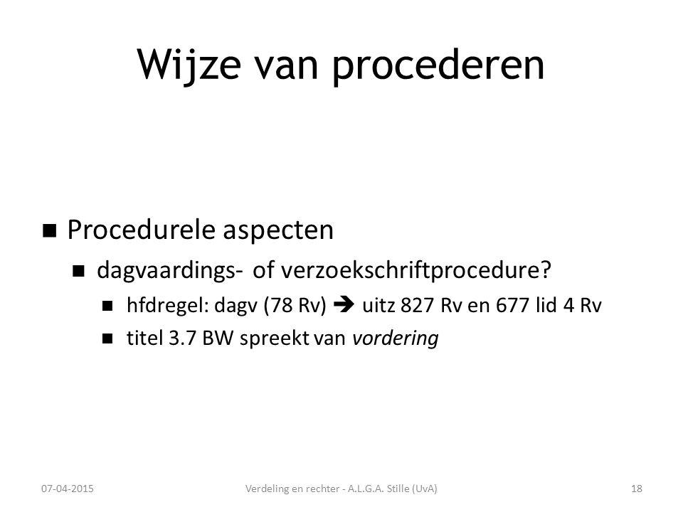Wijze van procederen Procedurele aspecten dagvaardings- of verzoekschriftprocedure? hfdregel: dagv (78 Rv)  uitz 827 Rv en 677 lid 4 Rv titel 3.7 BW