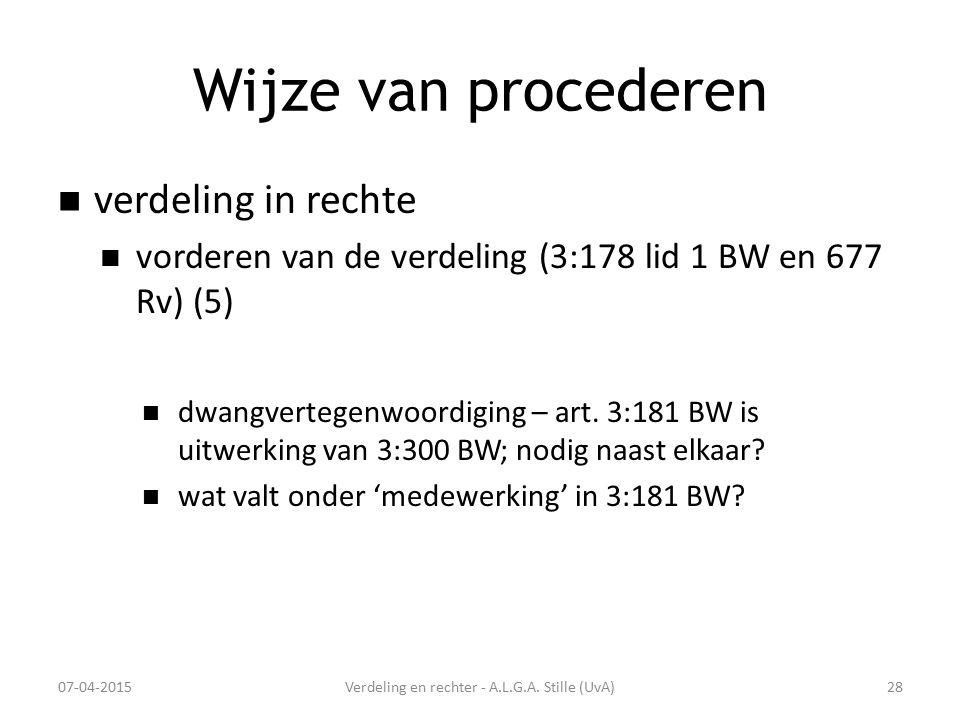 Wijze van procederen verdeling in rechte vorderen van de verdeling (3:178 lid 1 BW en 677 Rv) (5) dwangvertegenwoordiging – art. 3:181 BW is uitwerkin