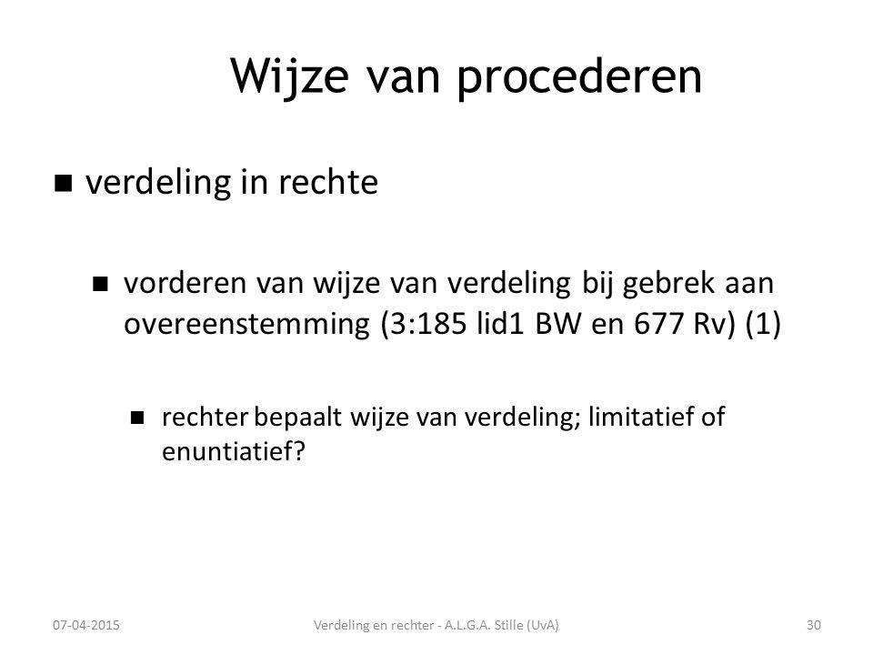 Wijze van procederen verdeling in rechte vorderen van wijze van verdeling bij gebrek aan overeenstemming (3:185 lid1 BW en 677 Rv) (1) rechter bepaalt