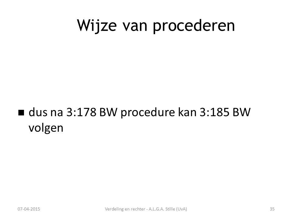 Wijze van procederen dus na 3:178 BW procedure kan 3:185 BW volgen 07-04-2015Verdeling en rechter - A.L.G.A. Stille (UvA)35