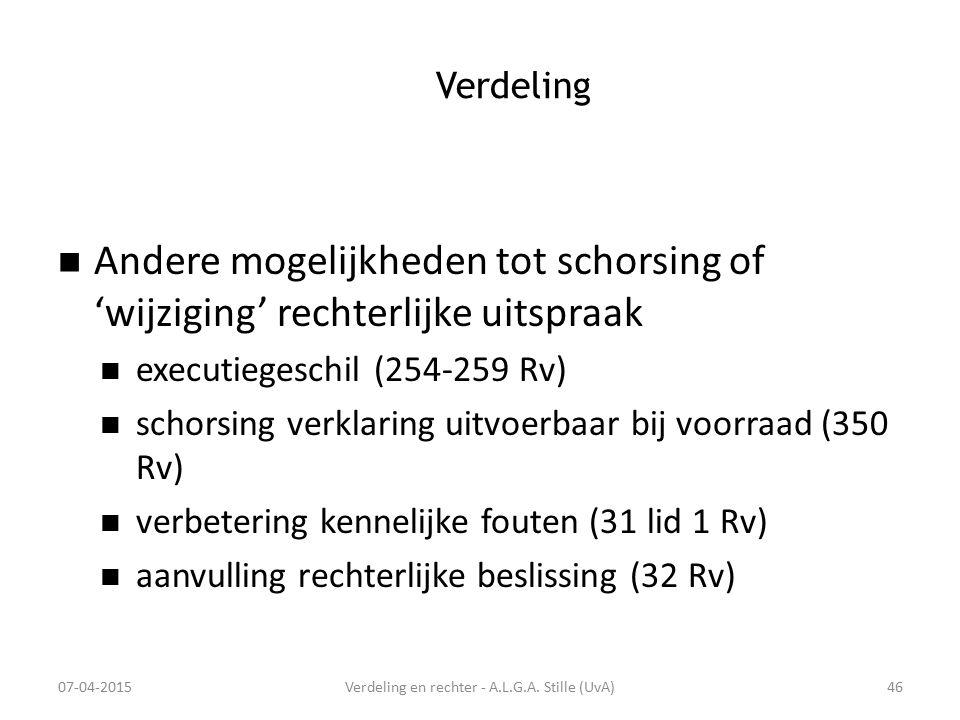 Verdeling Andere mogelijkheden tot schorsing of 'wijziging' rechterlijke uitspraak executiegeschil (254-259 Rv) schorsing verklaring uitvoerbaar bij v