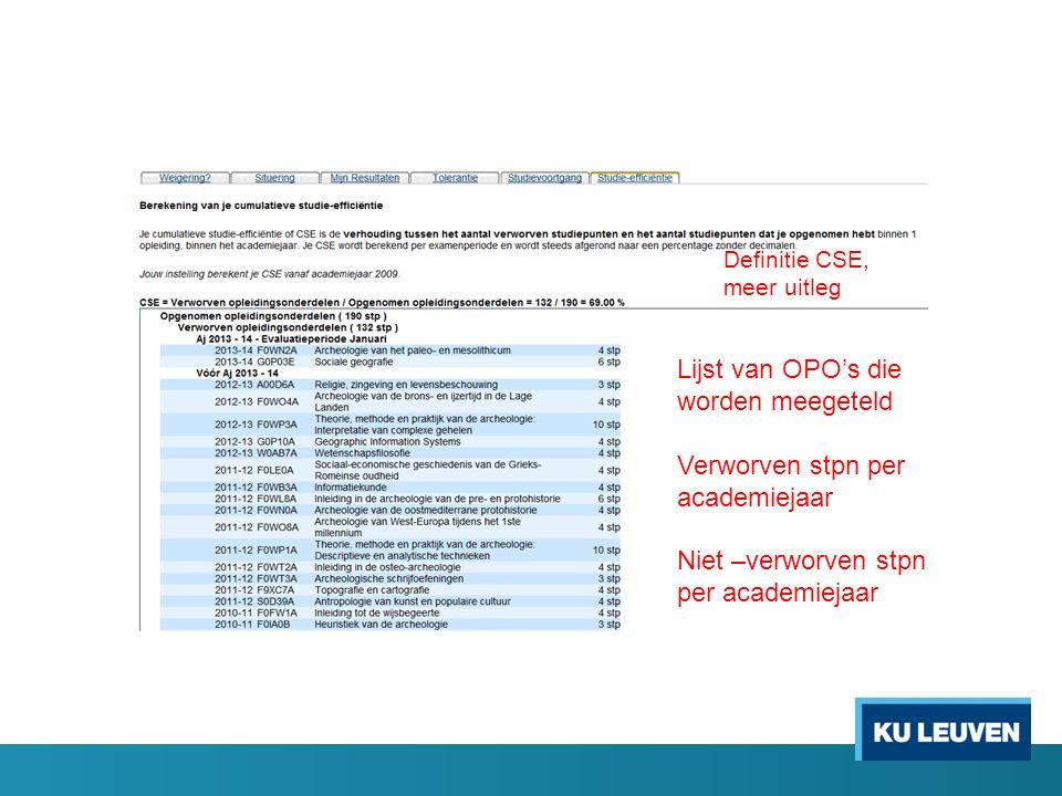 Definitie CSE, meer uitleg Lijst van OPO's die worden meegeteld Verworven stpn per academiejaar Niet –verworven stpn per academiejaar
