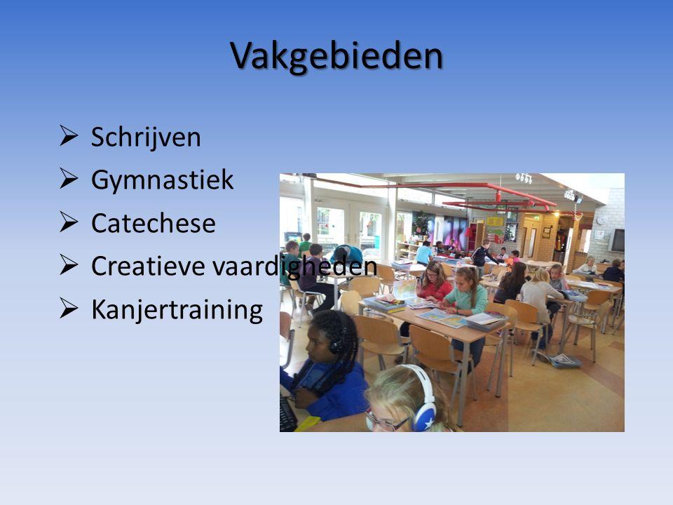 Vakgebieden  Schrijven  Gymnastiek  Catechese  Creatieve vaardigheden  Kanjertraining