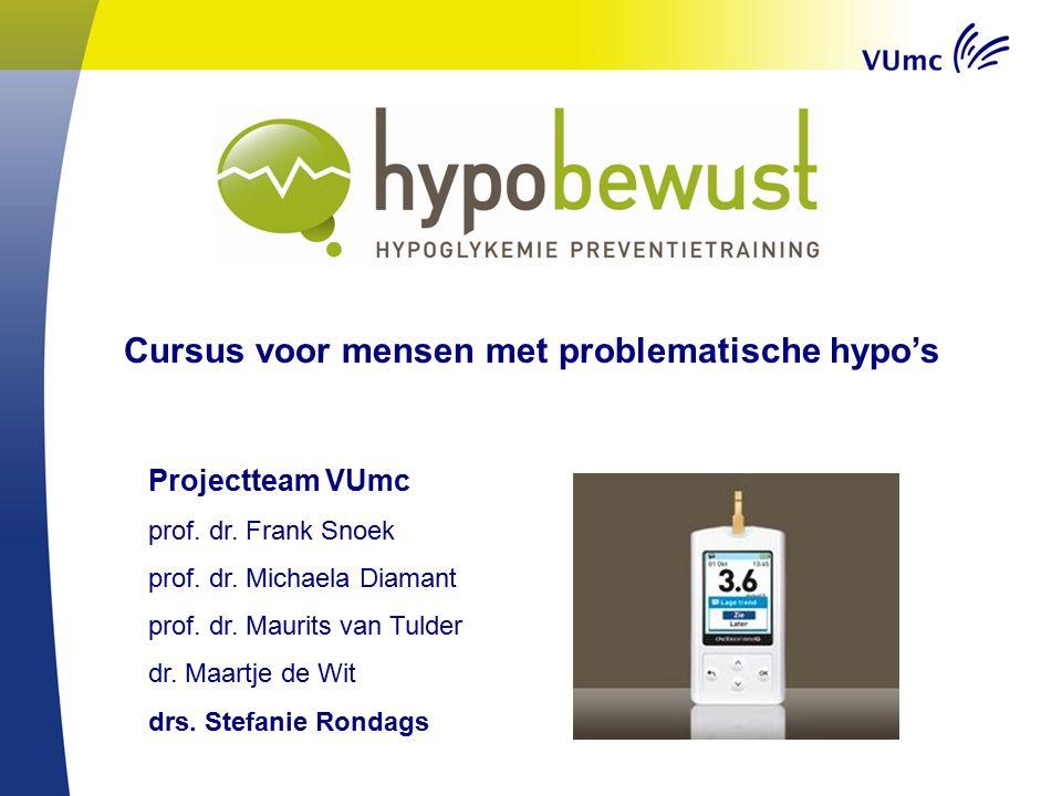 Projectteam VUmc prof. dr. Frank Snoek prof. dr. Michaela Diamant prof. dr. Maurits van Tulder dr. Maartje de Wit drs. Stefanie Rondags Cursus voor me