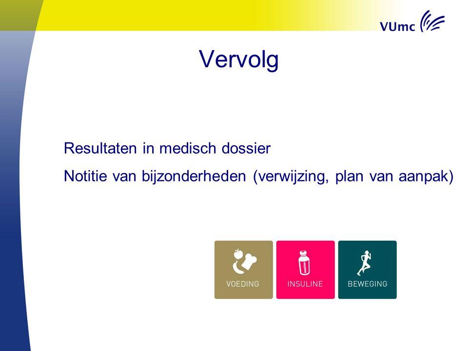 Vervolg Resultaten in medisch dossier Notitie van bijzonderheden (verwijzing, plan van aanpak)