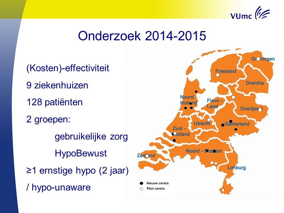 Onderzoek 2014-2015 (Kosten)-effectiviteit 9 ziekenhuizen 128 patiënten 2 groepen: gebruikelijke zorg HypoBewust ≥1 ernstige hypo (2 jaar) / hypo-unaw