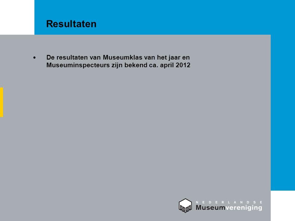 Resultaten De resultaten van Museumklas van het jaar en Museuminspecteurs zijn bekend ca. april 2012