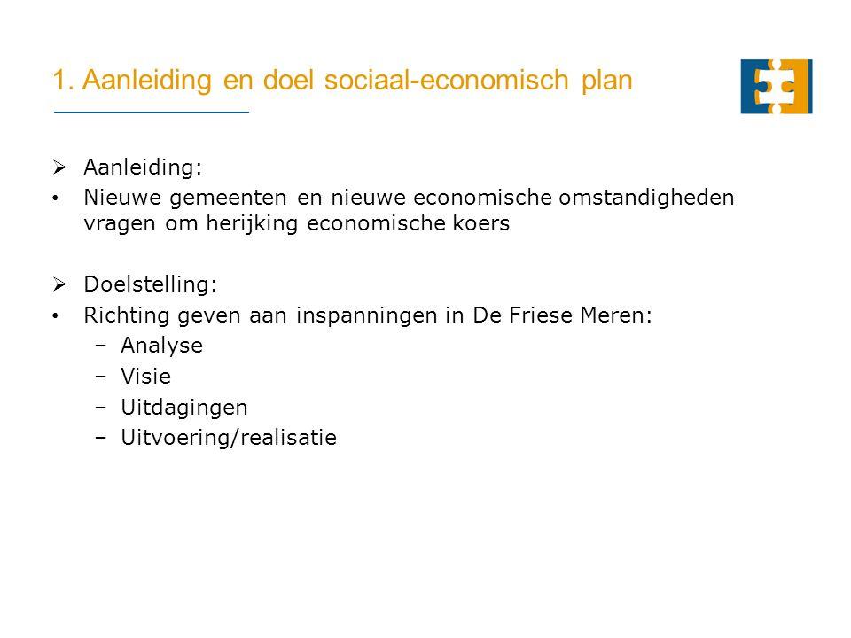 1. Aanleiding en doel sociaal-economisch plan  Aanleiding: Nieuwe gemeenten en nieuwe economische omstandigheden vragen om herijking economische koer