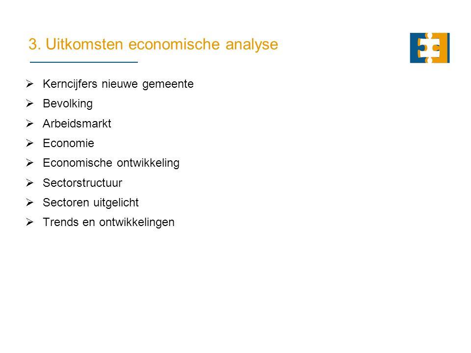3. Uitkomsten economische analyse  Kerncijfers nieuwe gemeente  Bevolking  Arbeidsmarkt  Economie  Economische ontwikkeling  Sectorstructuur  S