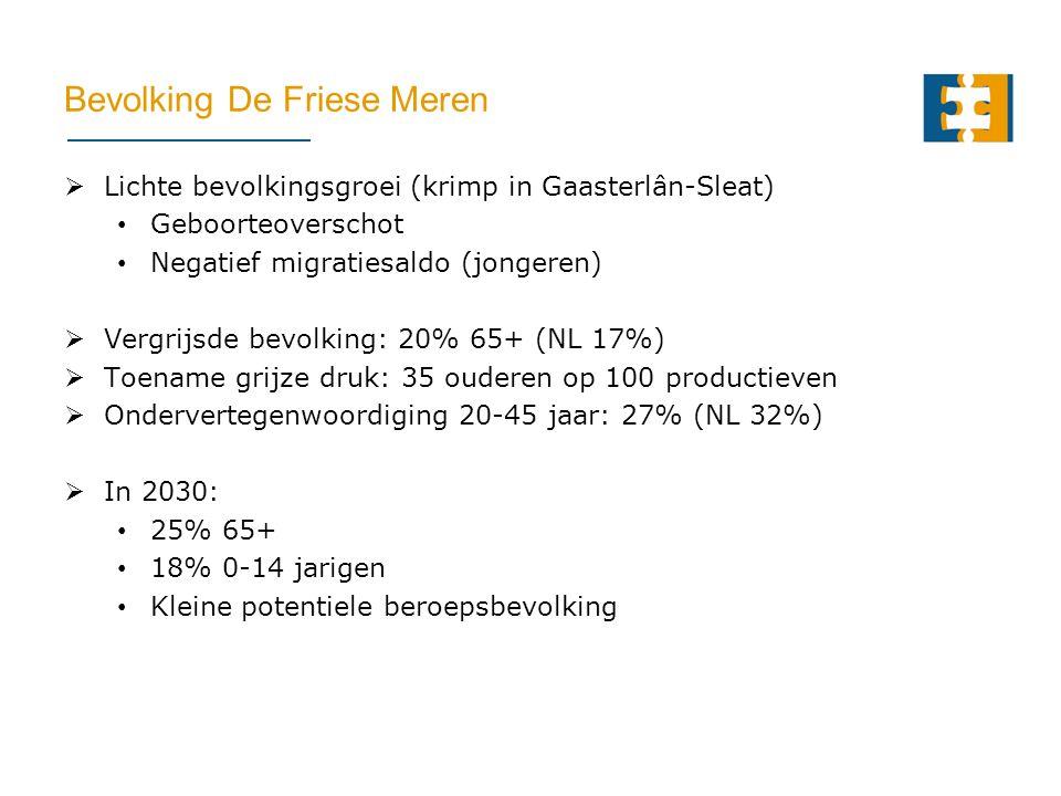 Bevolking De Friese Meren  Lichte bevolkingsgroei (krimp in Gaasterlân-Sleat) Geboorteoverschot Negatief migratiesaldo (jongeren)  Vergrijsde bevolking: 20% 65+ (NL 17%)  Toename grijze druk: 35 ouderen op 100 productieven  Ondervertegenwoordiging 20-45 jaar: 27% (NL 32%)  In 2030: 25% 65+ 18% 0-14 jarigen Kleine potentiele beroepsbevolking