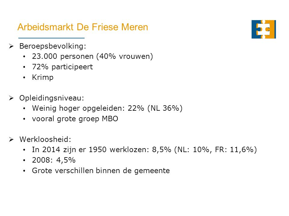 Arbeidsmarkt De Friese Meren  Beroepsbevolking: 23.000 personen (40% vrouwen) 72% participeert Krimp  Opleidingsniveau: Weinig hoger opgeleiden: 22% (NL 36%) vooral grote groep MBO  Werkloosheid: In 2014 zijn er 1950 werklozen: 8,5% (NL: 10%, FR: 11,6%) 2008: 4,5% Grote verschillen binnen de gemeente