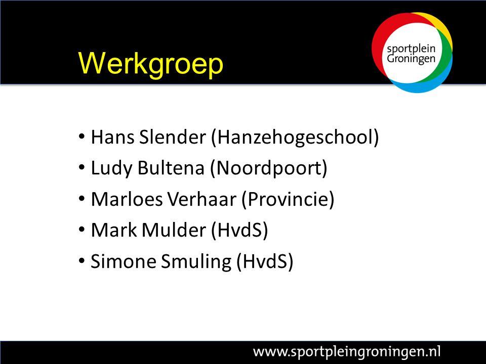 Hans Slender (Hanzehogeschool) Ludy Bultena (Noordpoort) Marloes Verhaar (Provincie) Mark Mulder (HvdS) Simone Smuling (HvdS) Werkgroep