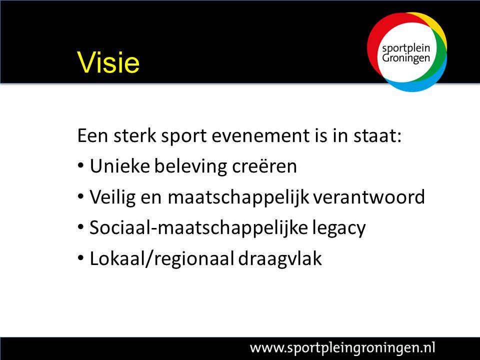 Een sterk sport evenement is in staat: Unieke beleving creëren Veilig en maatschappelijk verantwoord Sociaal-maatschappelijke legacy Lokaal/regionaal draagvlak Visie