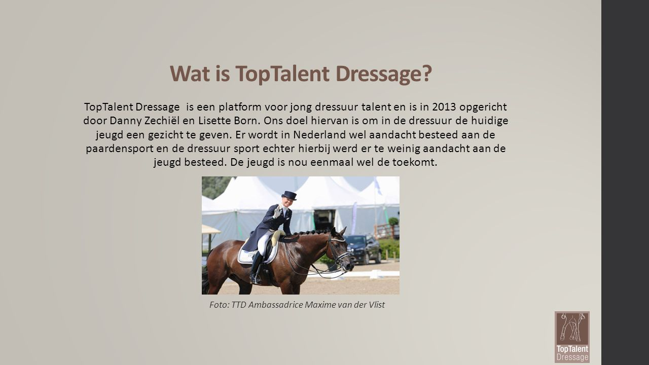 Wat is TopTalent Dressage.