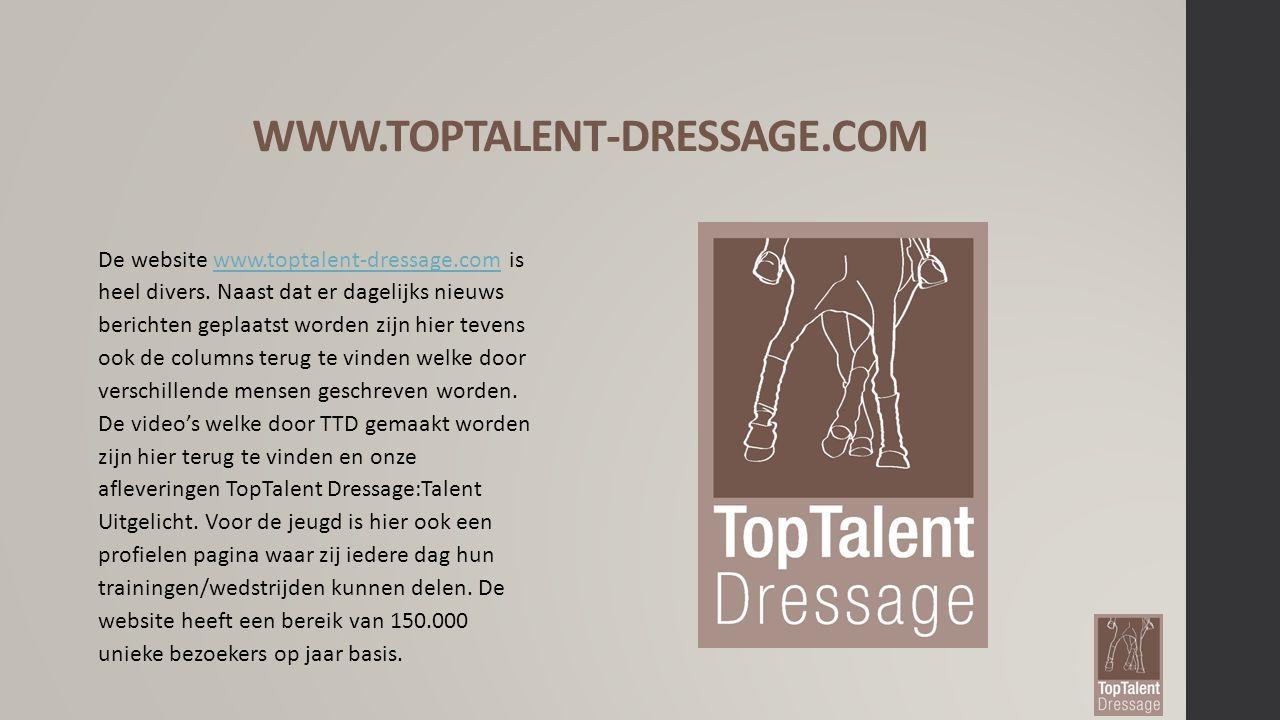 Facebook TopTalent Dressage De Facebook pagina heeft inmiddels 10.500 likes op de pagina.