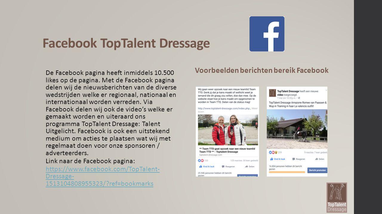 TopTalent Dressage op Instagram TopTalent Dressage heeft op Instagram 23.500 volgers opgebouwd dit zowel in Nederland maar ook veel volgers uit het buitenland.