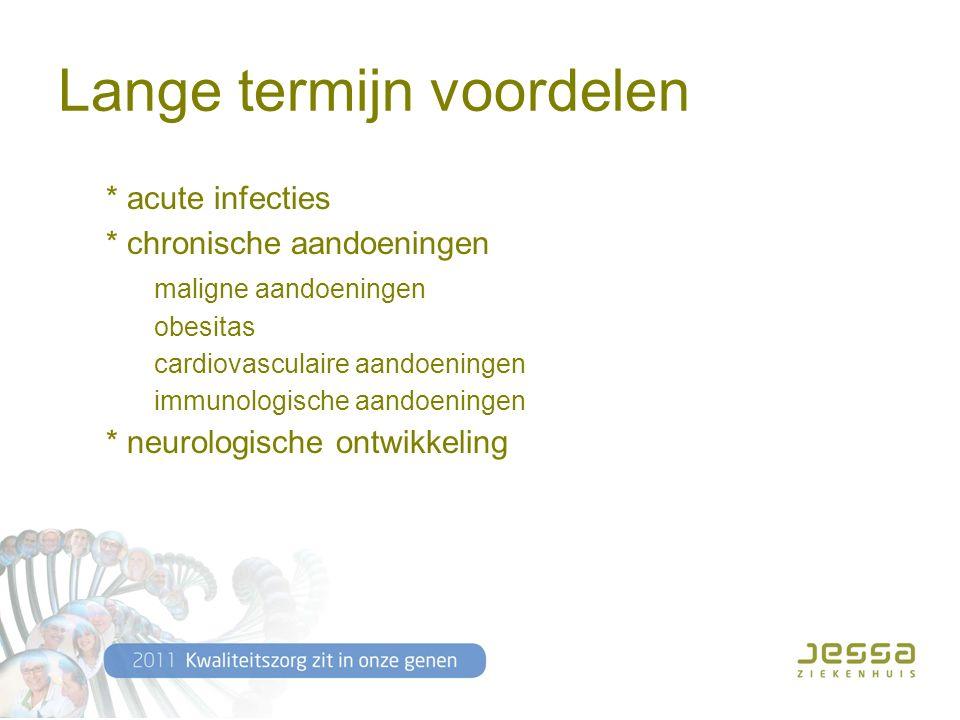 Lange termijn voordelen * acute infecties * chronische aandoeningen maligne aandoeningen obesitas cardiovasculaire aandoeningen immunologische aandoeningen * neurologische ontwikkeling
