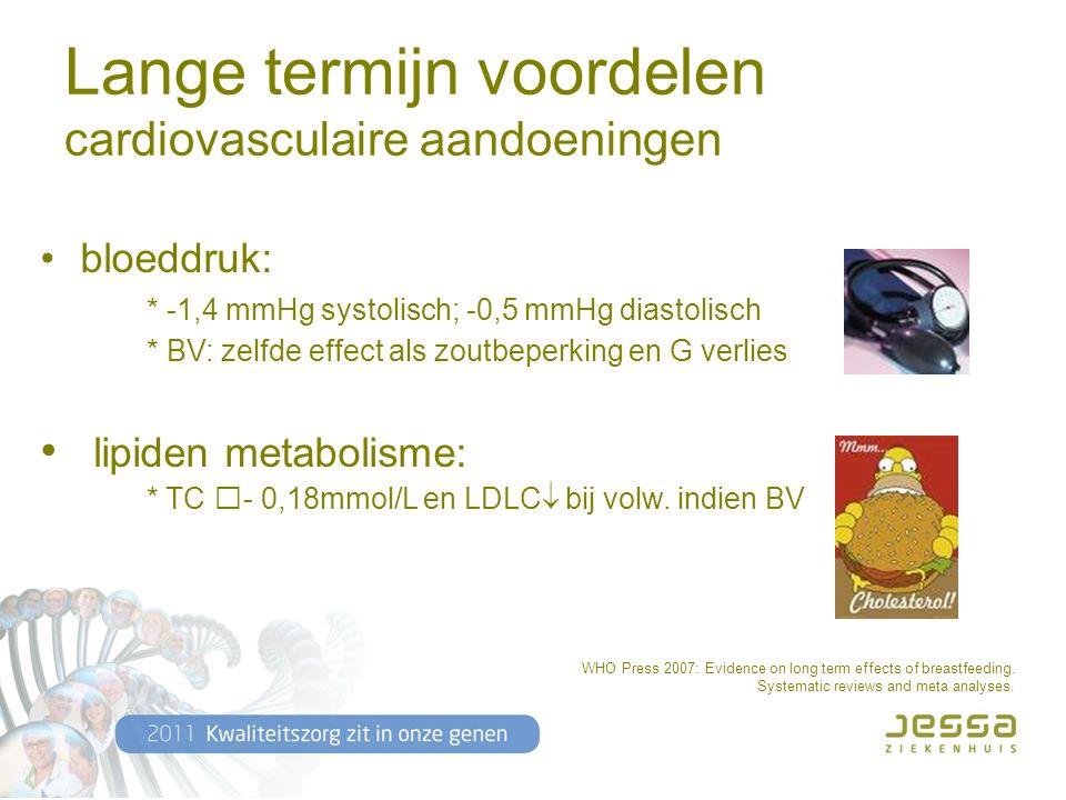 Lange termijn voordelen cardiovasculaire aandoeningen bloeddruk: * -1,4 mmHg systolisch; -0,5 mmHg diastolisch * BV: zelfde effect als zoutbeperking en G verlies lipiden metabolisme: * TC - 0,18mmol/L en LDLC  bij volw.
