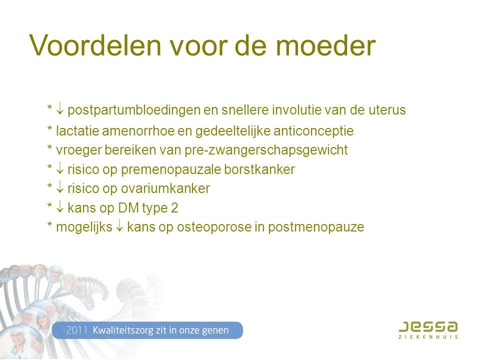 Voordelen voor de moeder *  postpartumbloedingen en snellere involutie van de uterus * lactatie amenorrhoe en gedeeltelijke anticonceptie * vroeger bereiken van pre-zwangerschapsgewicht *  risico op premenopauzale borstkanker *  risico op ovariumkanker *  kans op DM type 2 * mogelijks  kans op osteoporose in postmenopauze