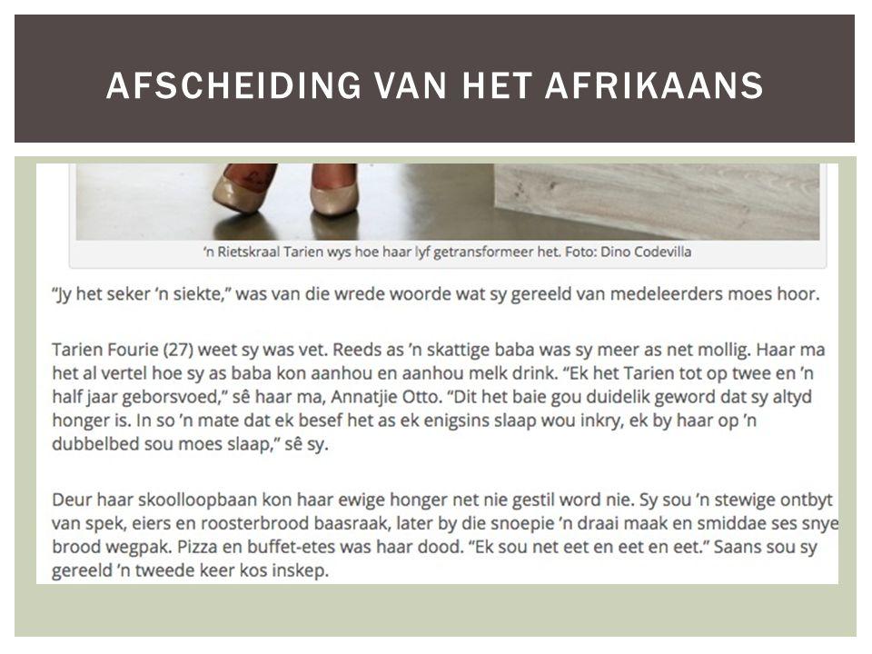 AFSCHEIDING VAN HET AFRIKAANS