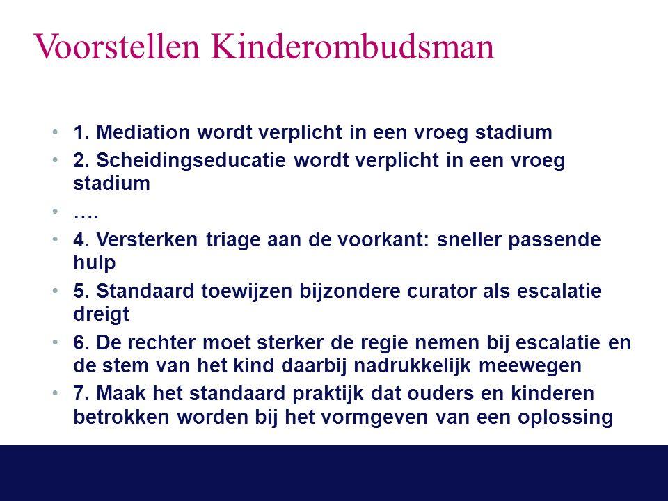 Voorstellen Kinderombudsman 1. Mediation wordt verplicht in een vroeg stadium 2.