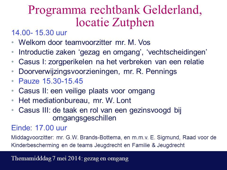 Programma rechtbank Gelderland, locatie Zutphen 14.00- 15.30 uur Welkom door teamvoorzitter mr.