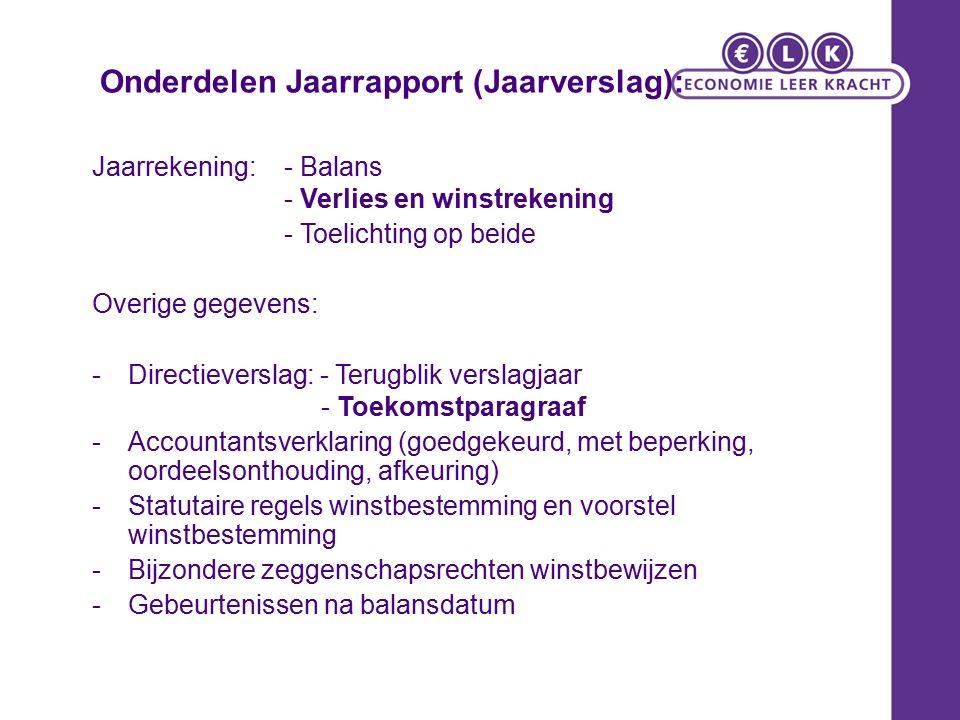 Onderdelen Jaarrapport (Jaarverslag): Jaarrekening:- Balans - Verlies en winstrekening - Toelichting op beide Overige gegevens: -Directieverslag: - Te
