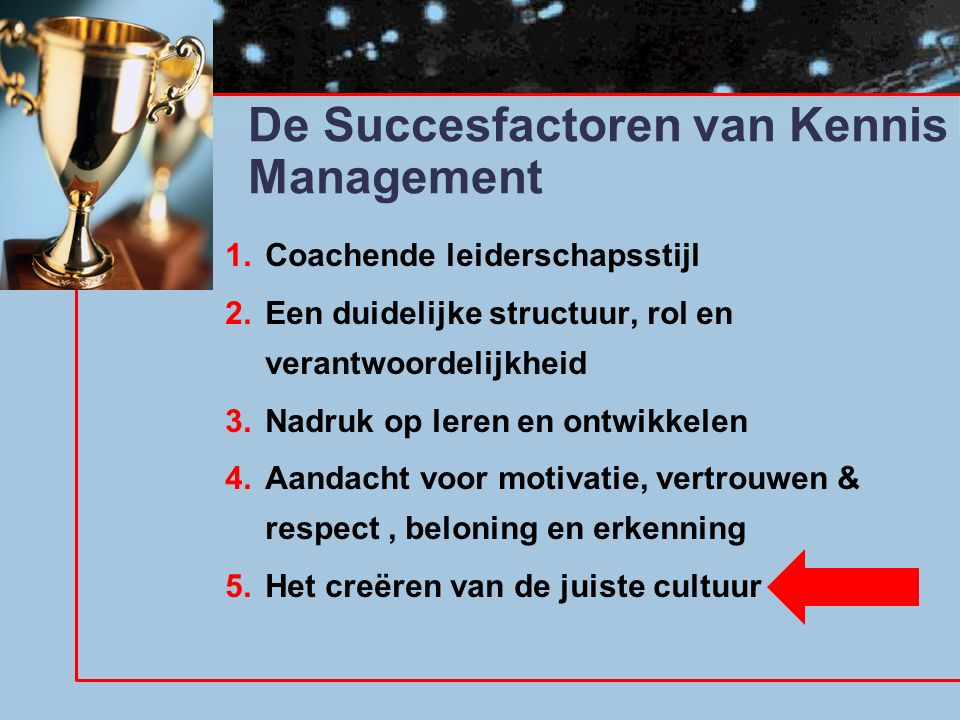 De Succesfactoren van Kennis Management 1.Coachende leiderschapsstijl 2.Een duidelijke structuur, rol en verantwoordelijkheid 3.Nadruk op leren en ontwikkelen 4.Aandacht voor motivatie, vertrouwen & respect, beloning en erkenning 5.Het creëren van de juiste cultuur