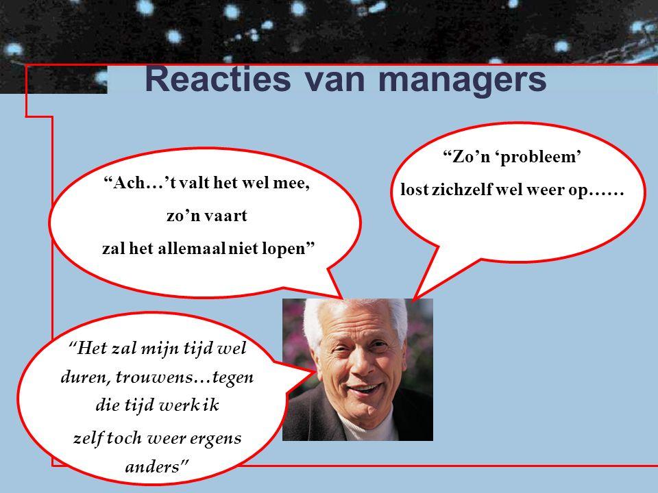 Reacties van managers Ach…'t valt het wel mee, zo'n vaart zal het allemaal niet lopen Het zal mijn tijd wel duren, trouwens…tegen die tijd werk ik zelf toch weer ergens anders Zo'n 'probleem' lost zichzelf wel weer op……