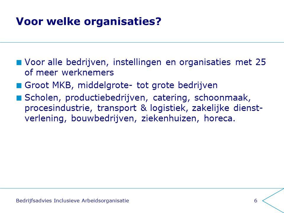 Voor welke organisaties? Voor alle bedrijven, instellingen en organisaties met 25 of meer werknemers Groot MKB, middelgrote- tot grote bedrijven Schol