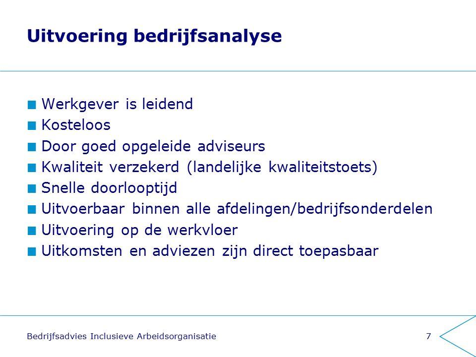 Uitvoering bedrijfsanalyse Werkgever is leidend Kosteloos Door goed opgeleide adviseurs Kwaliteit verzekerd (landelijke kwaliteitstoets) Snelle doorlo