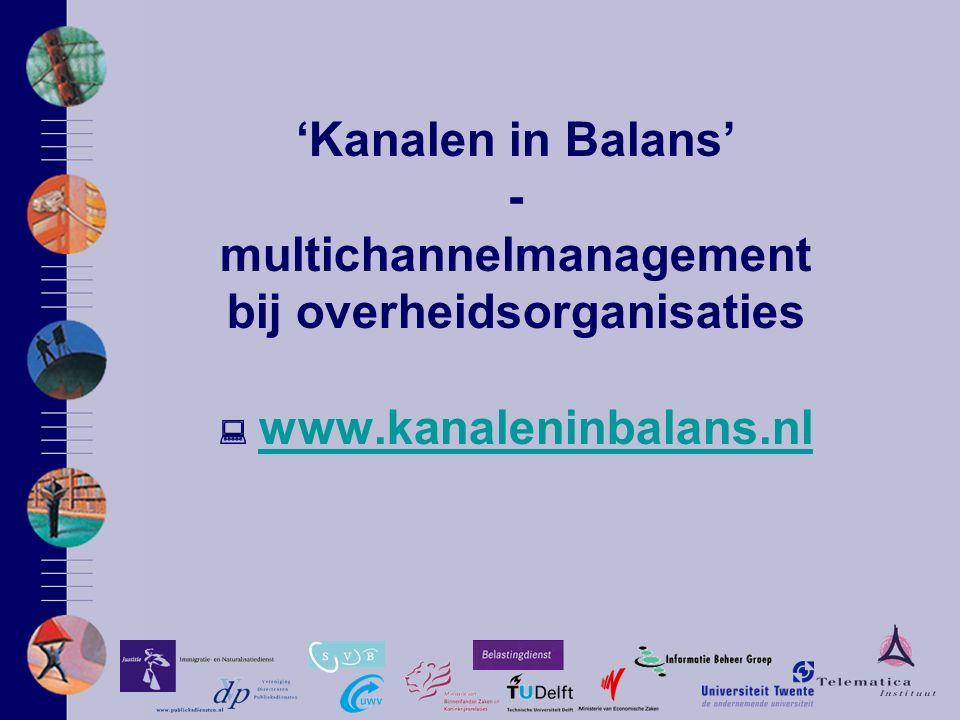 'Kanalen in Balans' - multichannelmanagement bij overheidsorganisaties  www.kanaleninbalans.nl www.kanaleninbalans.nl