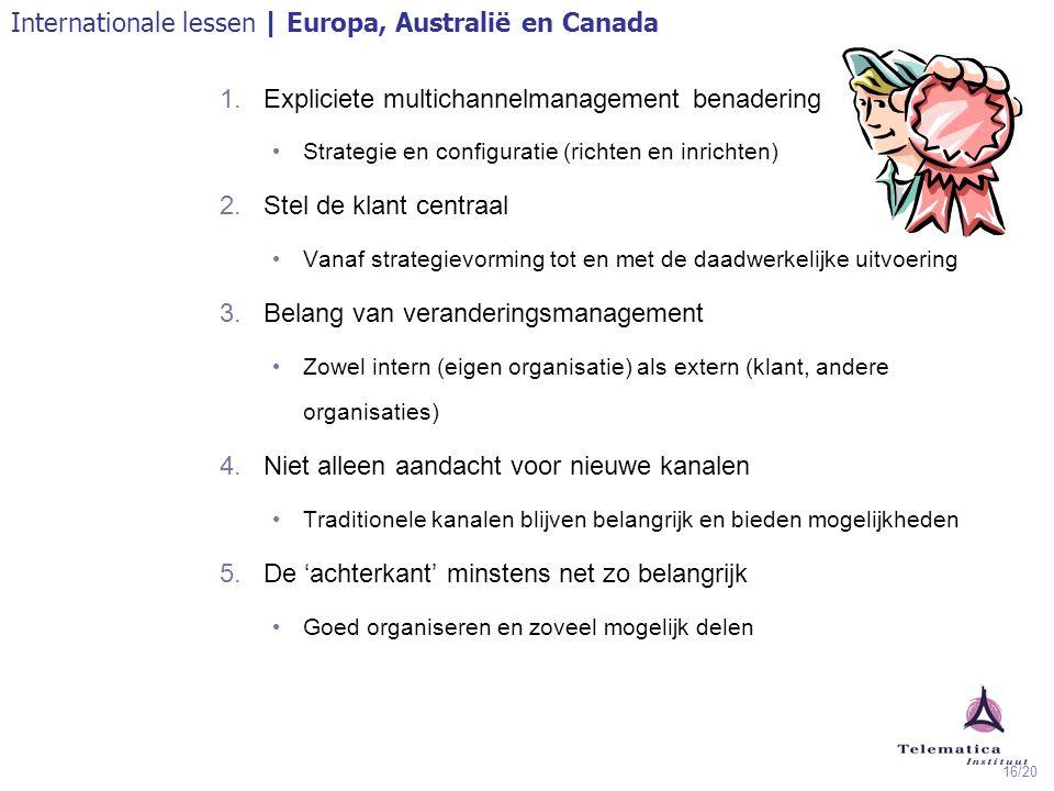 16/20 1.Expliciete multichannelmanagement benadering Strategie en configuratie (richten en inrichten) 2.Stel de klant centraal Vanaf strategievorming