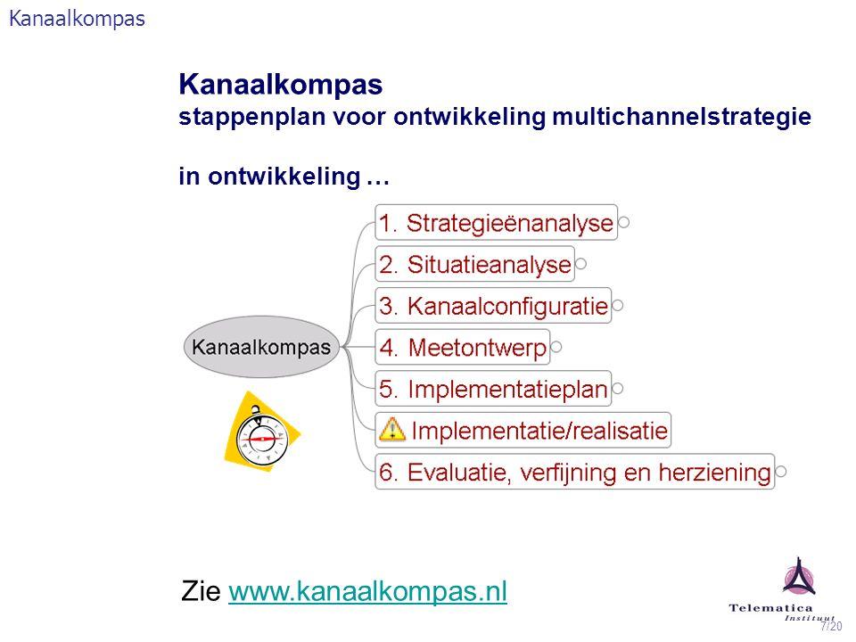 7/20 Kanaalkompas stappenplan voor ontwikkeling multichannelstrategie in ontwikkeling … Zie www.kanaalkompas.nlwww.kanaalkompas.nl Kanaalkompas
