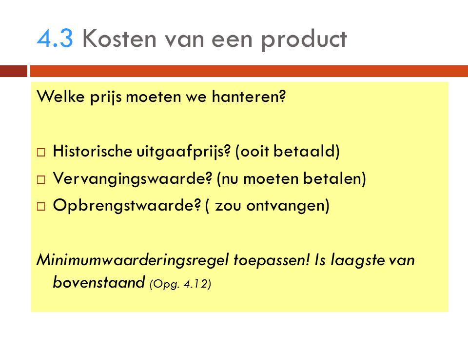 4.3 Kosten van een product Welke prijs moeten we hanteren.