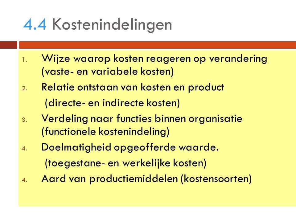 4.4 Kostenindelingen 1. Wijze waarop kosten reageren op verandering (vaste- en variabele kosten) 2.