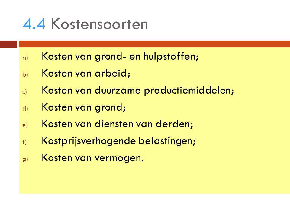 4.4 Kostensoorten a) Kosten van grond- en hulpstoffen; b) Kosten van arbeid; c) Kosten van duurzame productiemiddelen; d) Kosten van grond; e) Kosten van diensten van derden; f) Kostprijsverhogende belastingen; g) Kosten van vermogen.