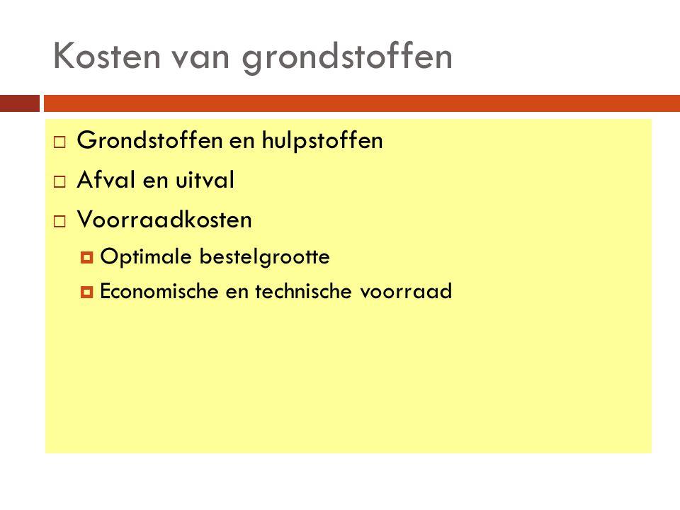 4.5Kosten van grond- en hulpstoffen (1) Grondstoffen zijn terug te vinden in het eindproduct.